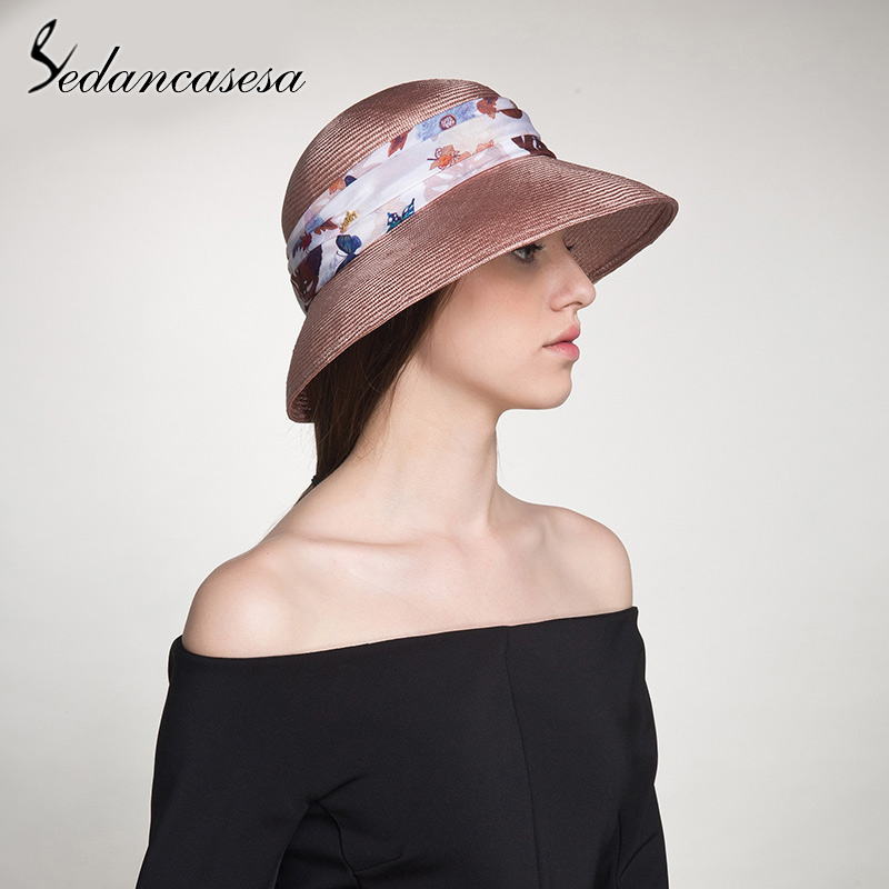 Sedancasesa Women's Wide Brim Linen Sun Hats for Women Print Handmade Beach Summer Sun Caps Crochet Cap Portable Sun Hat