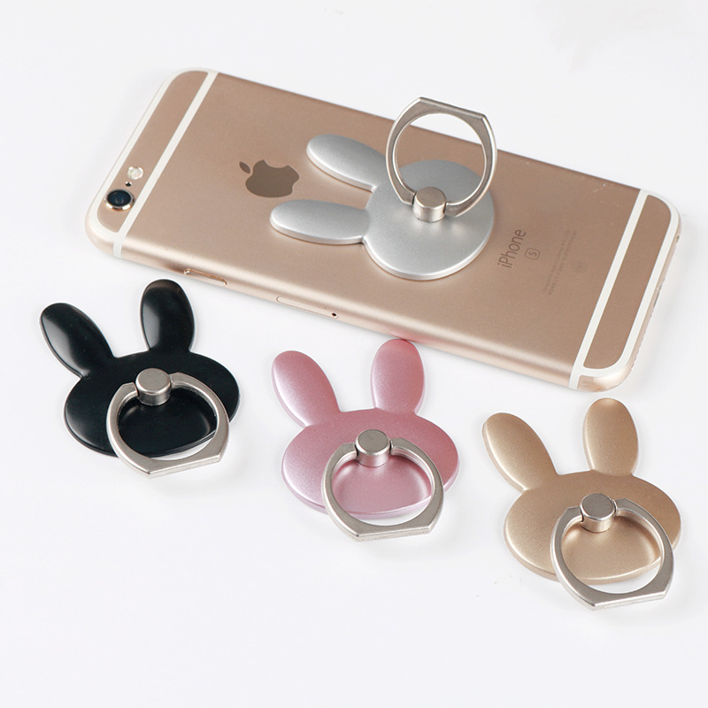 Cartoon Rabbit Mobile Phone Holder 360 Degree Metal Finger Ring Universal Holder Mobile Phone For iPhone Stand Pop Holder