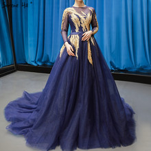Vestidos de novia de manga larga de color azul marino de lujo, vestidos de novia sexis de gama alta con cuello redondo y cuentas 2020, foto Real HM66801 hecha a medida
