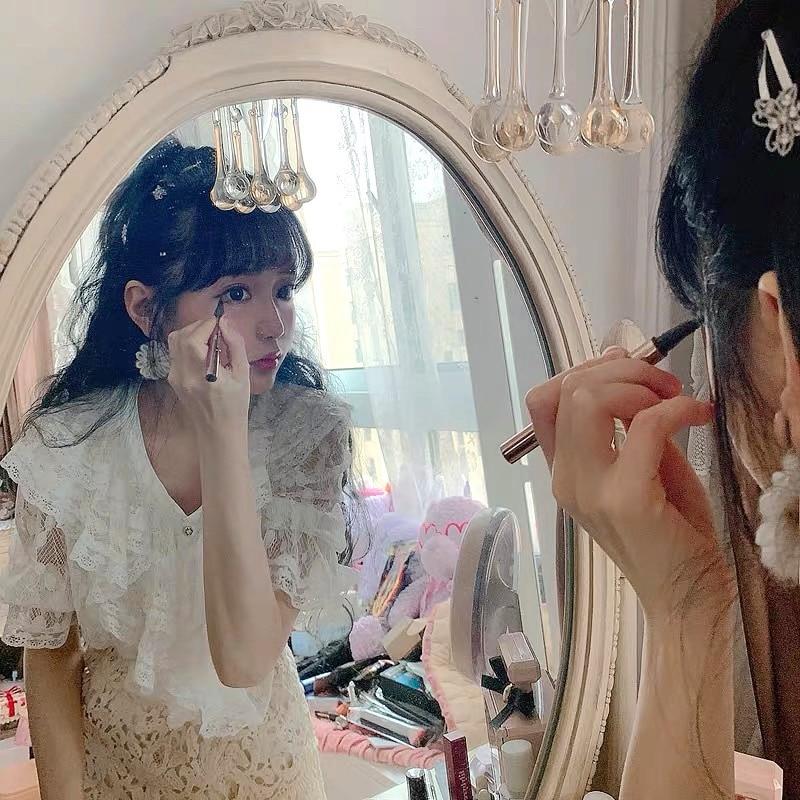 Princesse douce lolita chemise douce chemise française adorable mignonne fille multi-couche dentelle cravate dentelle chemise courte mode femmes T1739