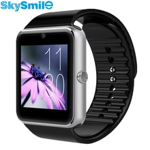 Skysmile smart watch gt08 notificador de sincronización de reloj smartwatch bluetooth conectividad android teléfono para apple iphone 6 sim apoyo tf