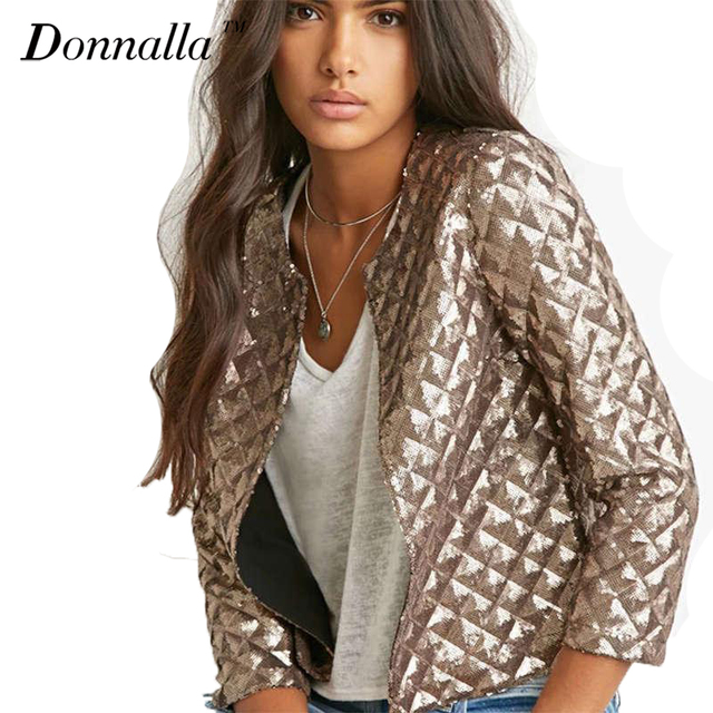 Aliexpress.com : Buy Metal Gold Color Jacket Women Punk Style ...