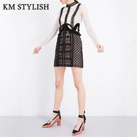2017 Autunm Lady Sexy Long Sleeve Dress Fashion Hollow Out Lace Winter Women High Waist Slim