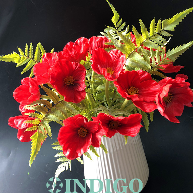 21 pcs red poppy with leaves bouquet christmas red flower wedding 21 pcs red poppy with leaves bouquet christmas red flower wedding artificial flower floral event party mightylinksfo