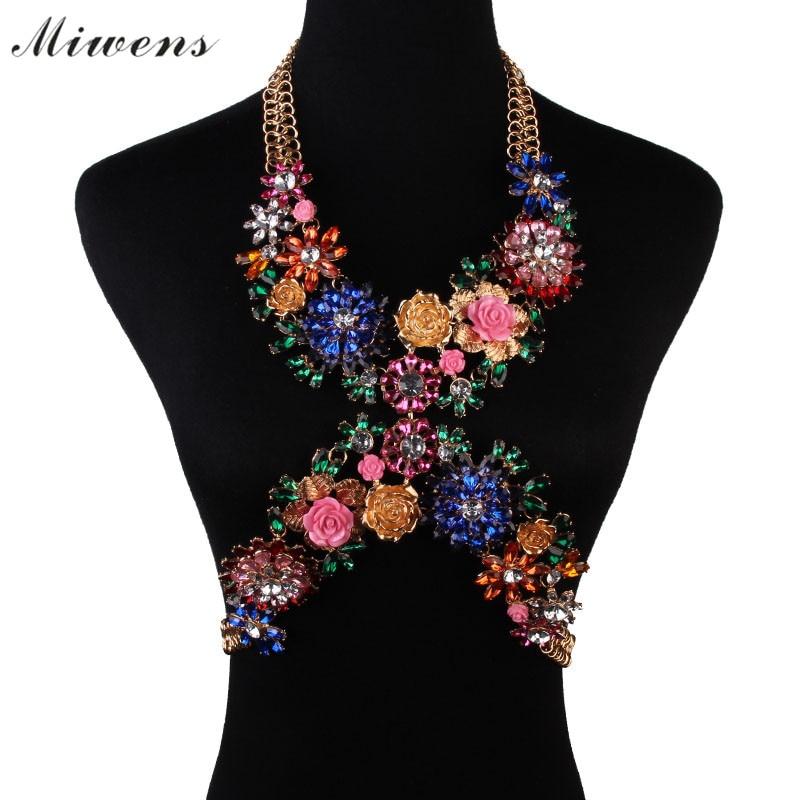 Miwens bricolage combinaison de luxe Sexy Bodys chaîne mode Chunky métal gemmes fleur déclaration collier Bikini plage accessoires 6593