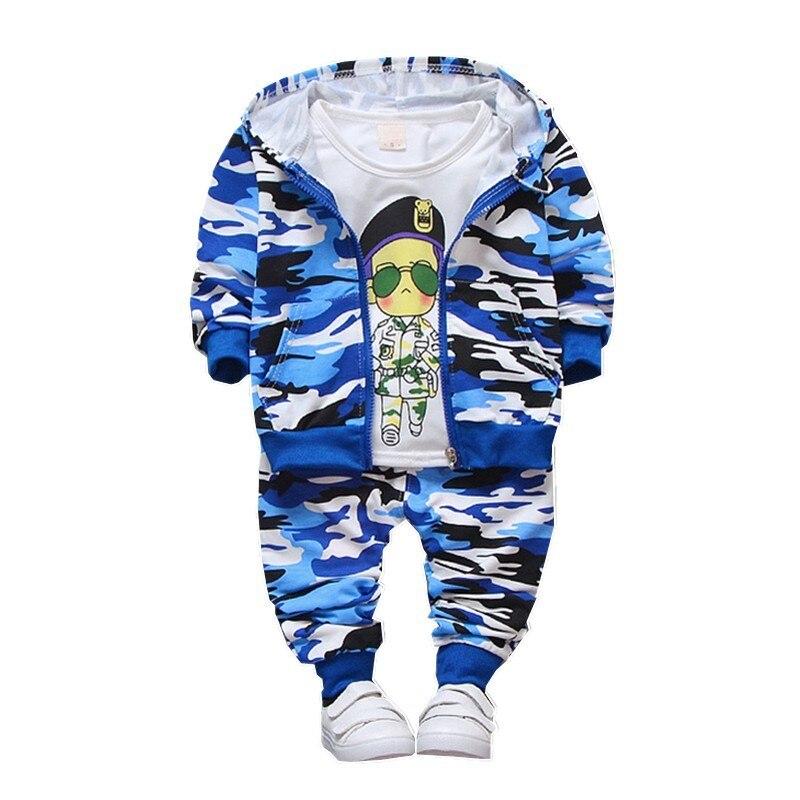 Primavera Outono Crianças Roupas de Bebê Meninas Meninos Jaqueta de Camuflagem Cor de Algodão Calças T-Shirt 3 pçs/sets