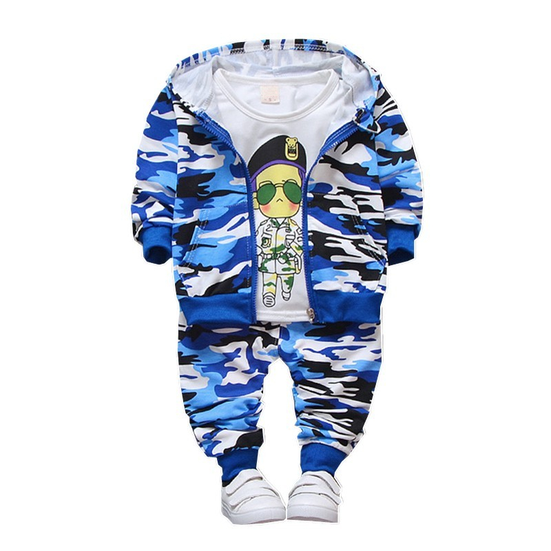 Spring Autumn Children Clothes Baby Girls Boys Camouflage Color Cotton Jacket T Shirt Pants 3pcs sets in Clothing Sets from Mother Kids