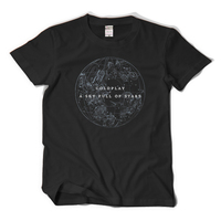 Yeni Coldplay Band T-shirt yıldızlı dolu Bir gökyüzü tshirt Pamuk Kısa Kollu Tees Moda Erkekler Kadın T Gömlek Tops