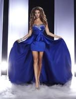 送料無料2018 vestidosデ·フェスタ正式なカスタムエレガントなセクシーなビーズショートロイヤルブルーとパーティーウエディングウエディングドレス