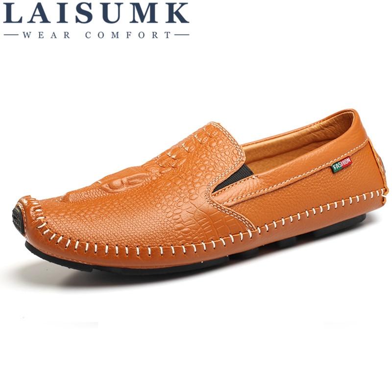2019 LAISUMK Excellent Super High Quality Men Casual Shoes Slip on Non slip Bottom Flat Normal Size Leather Men Shoes in Men 39 s Casual Shoes from Shoes