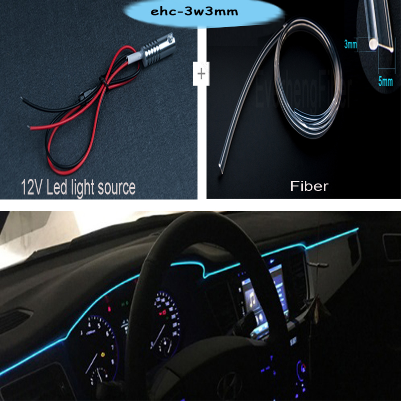 Free Shipping Hot Sale Car Use LED 12v Side Glow Optic Fiber Light For Car Interior Decoration