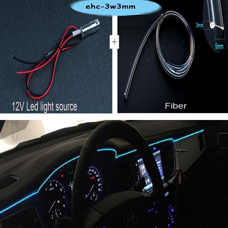 Gratis verzending Hot koop car gebruik LED 12v Kant gloed glasvezel licht voor auto-interieur decoratie