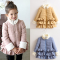 15 winter coat cotton-padded fur collar laciness girls clothing child plus velvet thickening wadded jacket cotton-padded jacket