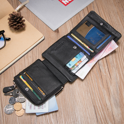 Fashion Cow Leather Men Wallets Short Wallet Purse Card Holder Male Coin Pocket Money Bag Small  Wallets Clutch Bags Carteira Pakistan