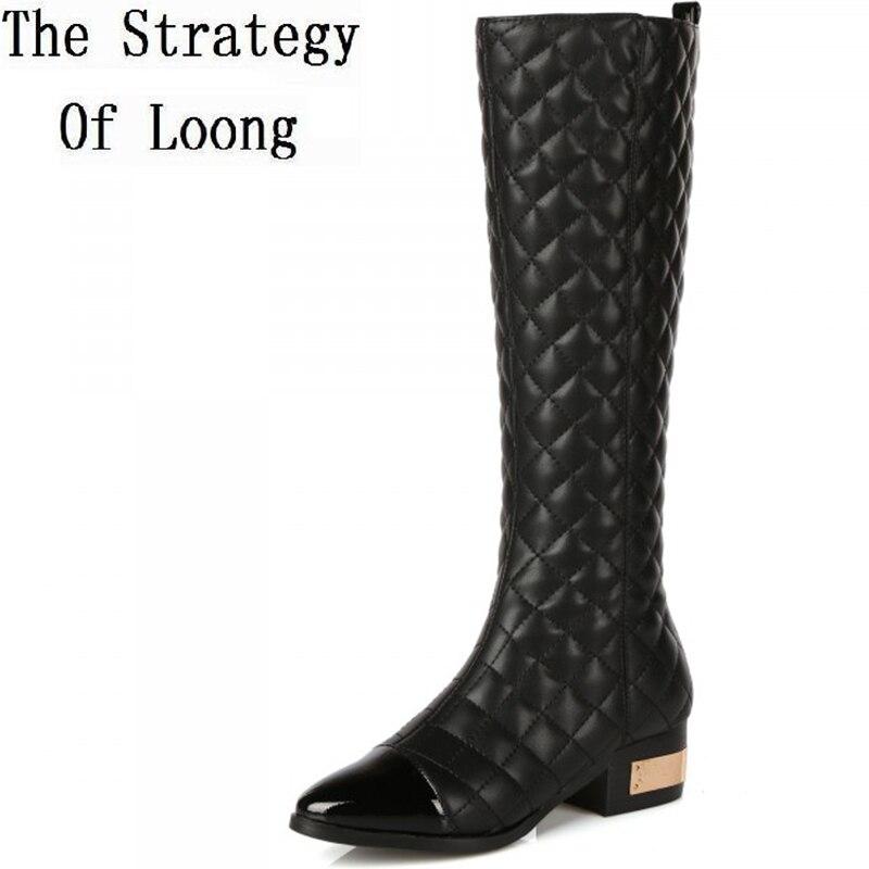 Women Autumn Winter Thick High Heel Genuine Leather Round Toe Side Zipper Fashion Knee High Boots Plus Size 34-42 SXQ0910 стоимость