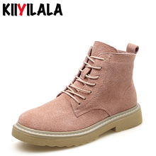 Kiiyilala Zipper Genuine Leather Motorcykle Boots Women Shoes Cross-tied Booties New Flat-soled Woman Ankle Boots Female Shoes for suzuki gsxr 1000 k9 2009 2010 2011 2012 2013 injection abs fairing kits gsxr1000 k9 09 13 dark dog black blue white