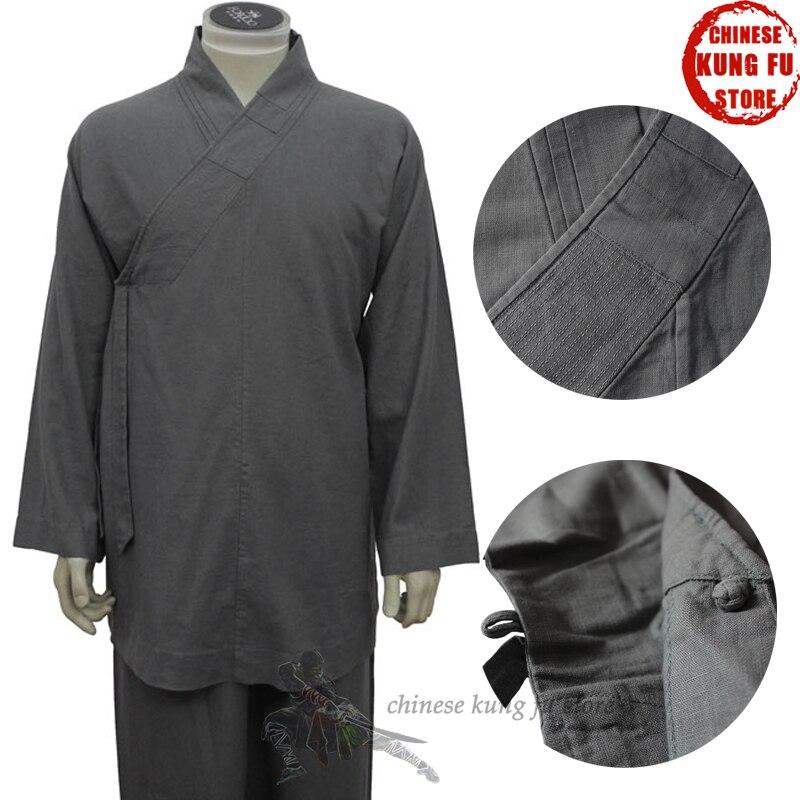 Top Quality Linen Buddhist Monk Meditation Suit Shaolin Arhat Monk Kung fu Uniform Martial arts Suit