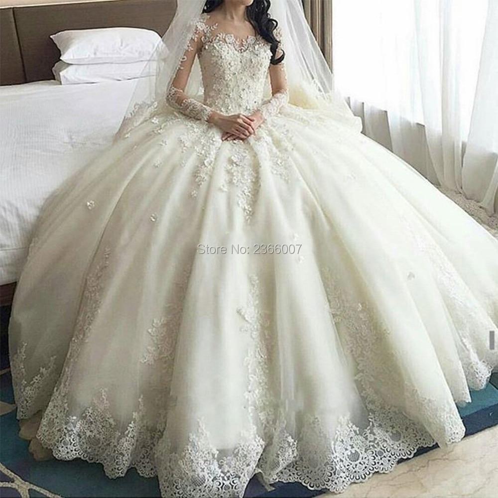 Dubai Crystal Flowers Ball Gown Wedding Dresses 2019 Long Sleeve