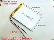 Bateria de Polímero Frete Grátis de Lítio 306080 2500 Mah Amor Pouso Pda Computador Tablet Inteligente 3.7 V 3 Linha