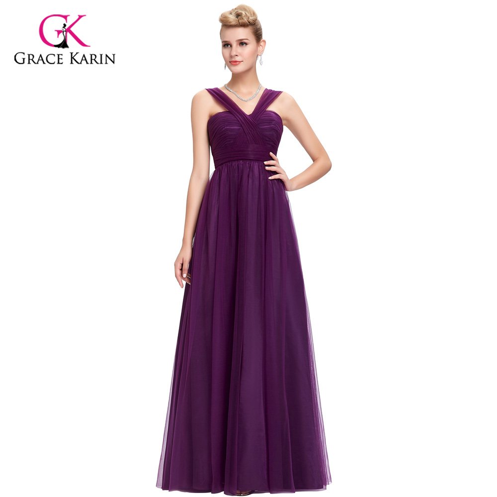 Bridesmaid     Dress   2018 Grace Karin V-Neck Tulle Backless cheap prom   dresses   under $50 Long Purple   Bridesmaid     dresses