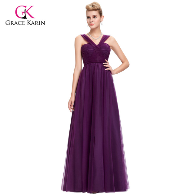 Bridesmaid Dress 2018 Grace Karin V Neck Tulle Backless cheap prom ...