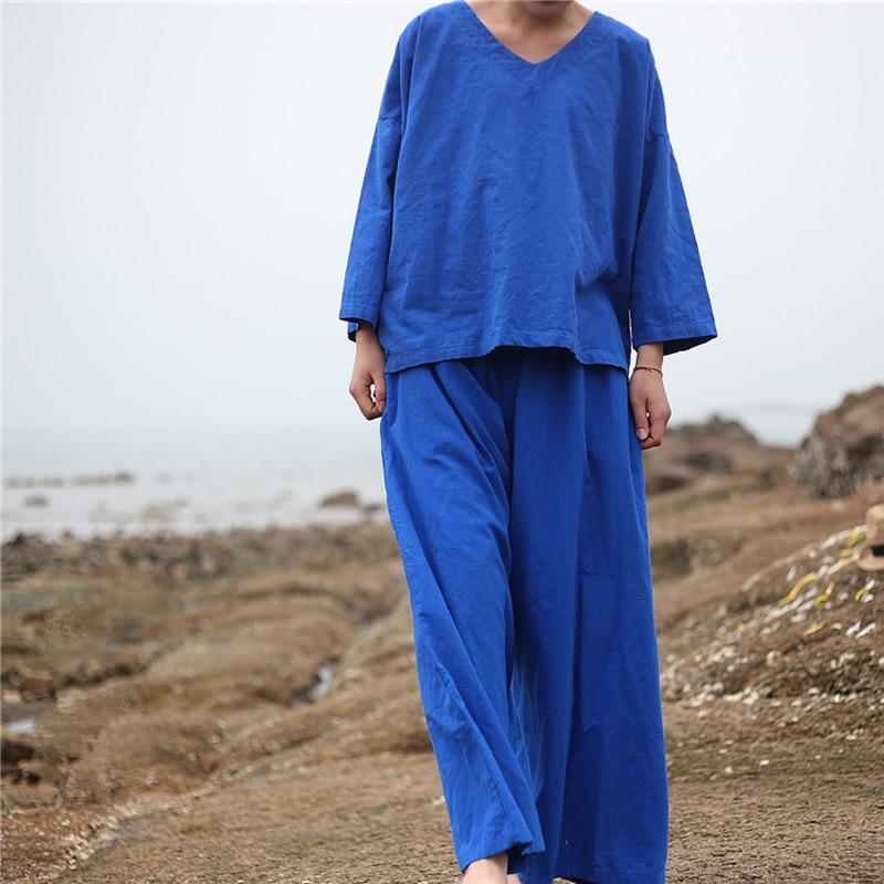 ORIGOODS Solid Cotton Linen Blosue Pants Sets Women Plus size Summer Wide leg Pants Shirt Sets Women Tops Trousers Sets D035