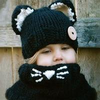 Winter Baby Kids Boy Girls Solid Crochet Hat Scarf Cotton Wool Knitted Cute Cat Ear Hat