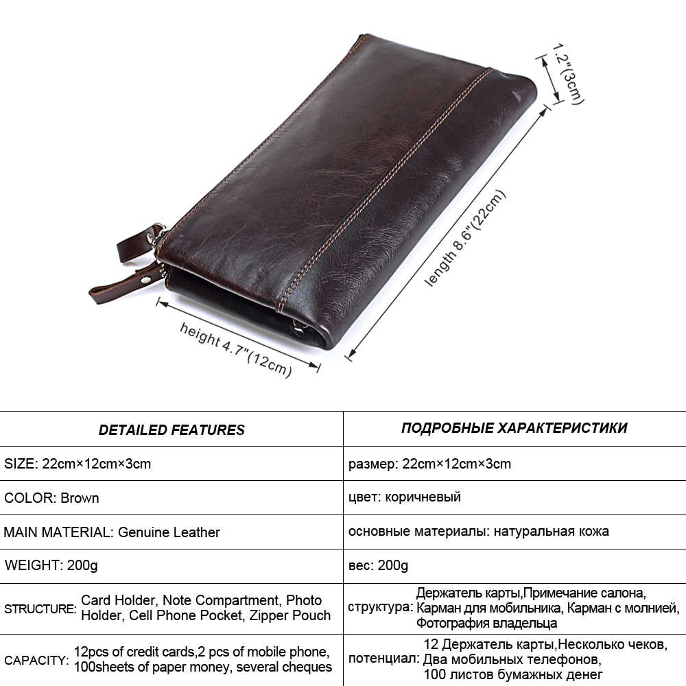 MISFITS Homens marca carteiras Organizador de couro genuíno duplo zíper saco de embreagem homem de couro de vaca Longo bolsa de Multi-função de telefone saco