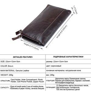Image 2 - MISFITS Men brand Organizer wallets genuine leather double zipper clutch bag man cow leather Long purse Multi function phone bag