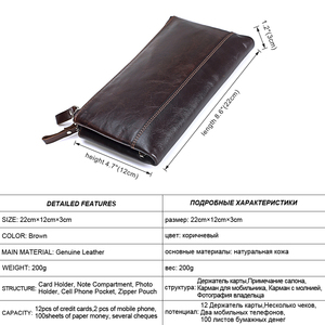 Image 2 - Men famous brand genuine leather double zipper clutch wallet male cow leather Long purses lady Multi function phone bag purse