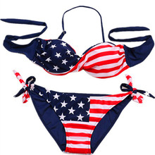 GI FOREVER Sexy Women Triangle Push Up America Flag Swimwear Bikini 2017 Bandage Halter Swimsuits Bathing Suit Maillot De Bain