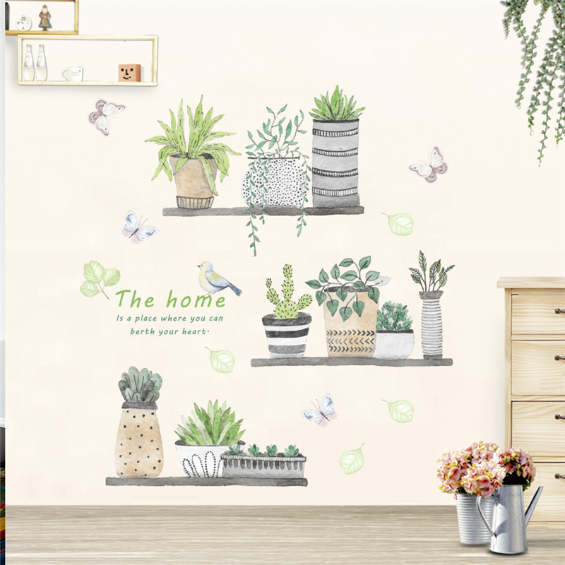 Garden Plant Bonsai Flower Butterfly Wall Stickers For Home Decor Living Room Kitchen PVC DIY Wall Decals Mural Art Decoration