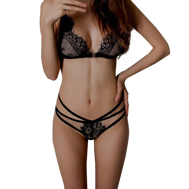 4437bfb882a98 2017 hot sexy lace bra set Women Lingerie Corset Lace stripe Push Up Top Bra +Pants Underwear Set bralette panty bras set