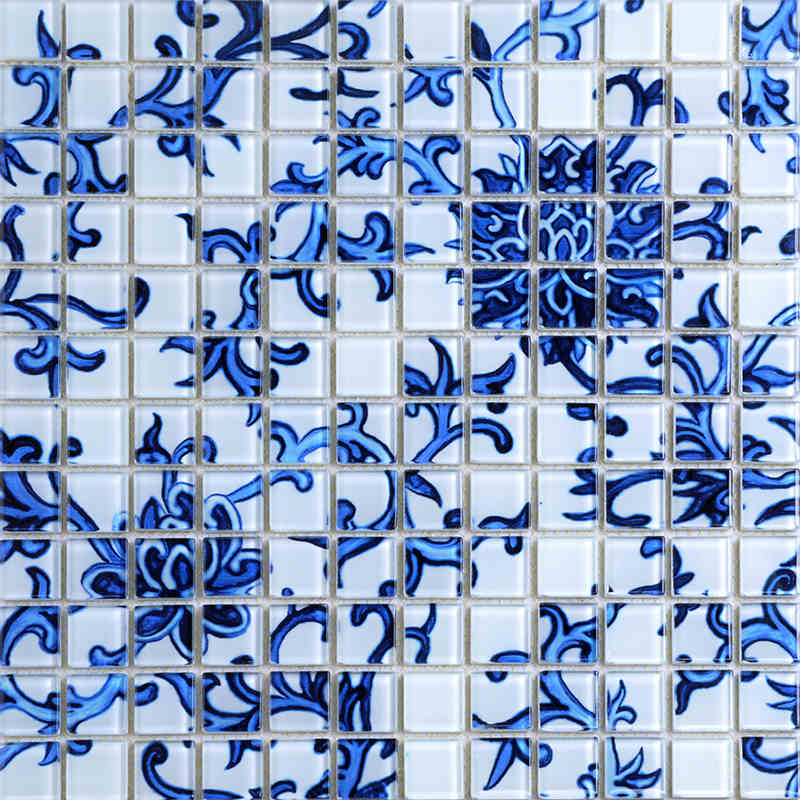 11pcs blue and white puzzle parquet mosaic balcony bathroom crystal glass mosaic pillar wallpaper kitchen backsplash tiles