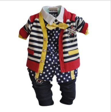 clearance boys star style striped cardigan+ dot shirt with bow tie+harem pant spriing autumn clothing sets 3pcs