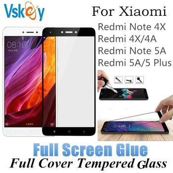 VSKEY 10Pcs 2.5D Full Glue Tempered Glass For Xiaomi RedMi Note 4X Note 5 Pro RedMi 5 Plus 5A Full Cover Screen Protector