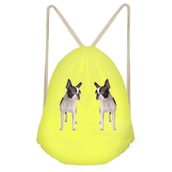 Drawstring Backpack Boston Terrier Scarf Rucksack
