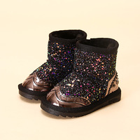 Fashion Colorful Bling Girls Winter Boots Snow Boot For Girls Winter Shoes Dress Shoes With Fur