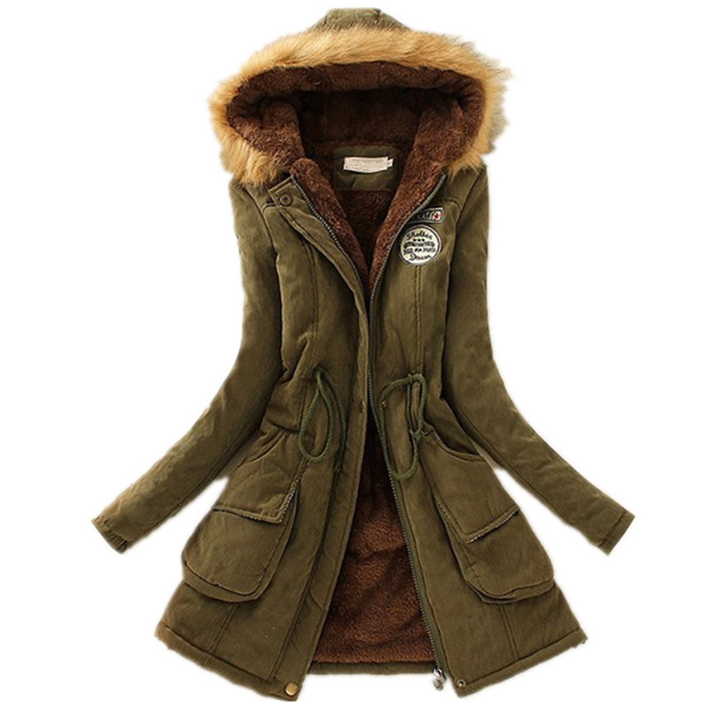 Women Winter Jackets Coats Faux Fur Hooded Collar Casual Long Parkas Cotton Wadded