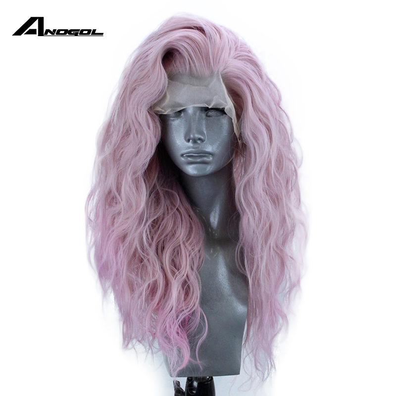 Anogol Pink High Temperature Fiber 360 Frontal Long Deep Wave Full Hair Wigs Synthetic Lace Front Wig For Women With Free Part