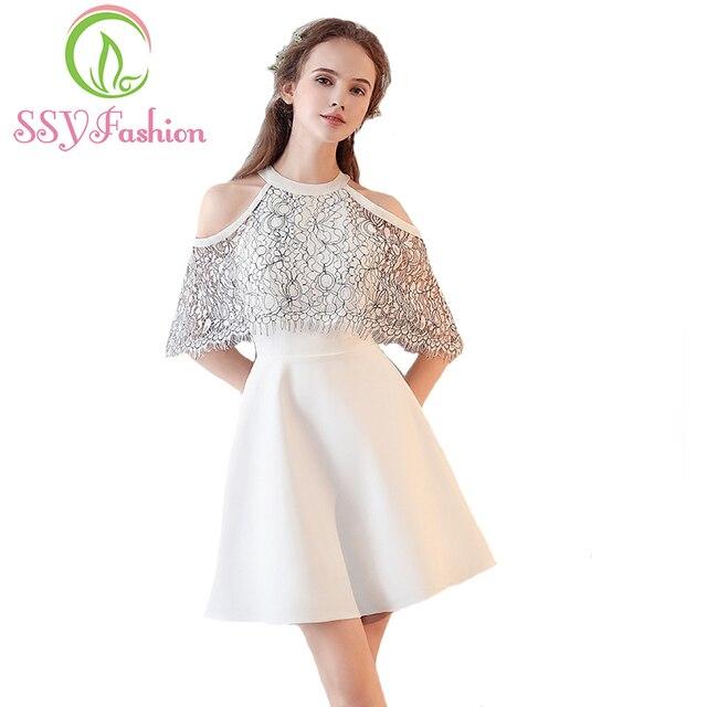 SSYFashion 2017 Sommer Neue Cocktail Kleid Die Braut Kurz Weiß ...