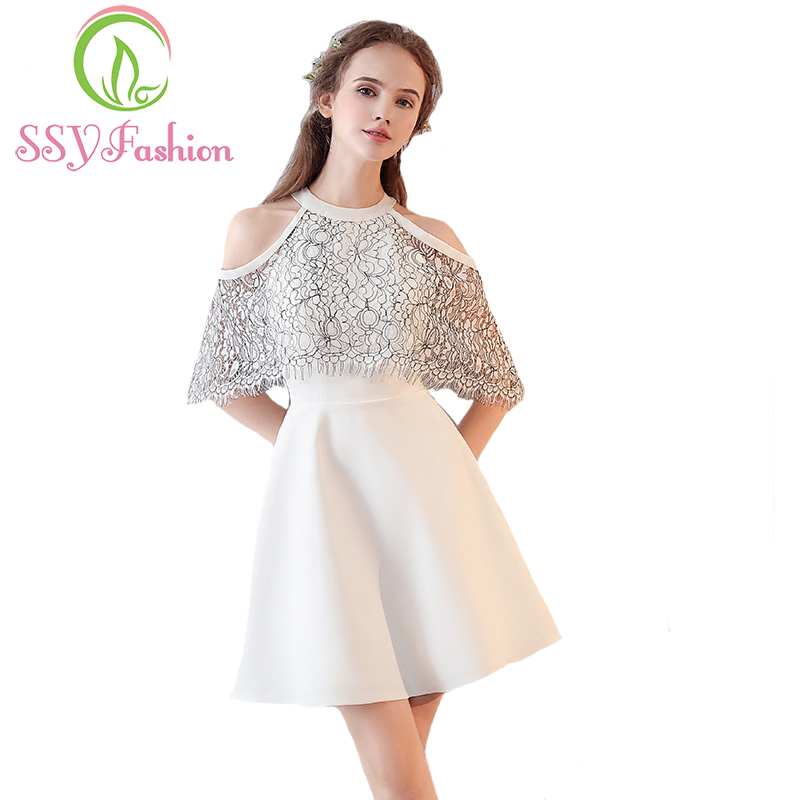 SSYFashion 2017 Summer New   Cocktail     Dress   The Bride Short White Lace with Shawl Simple Elegant Fromal Party Gown Robe De Soiree