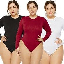 5XL6XL Casual Jumpsuits For Women Long Sleeve O-neck Slim Women Sexy Bodysuit Bl