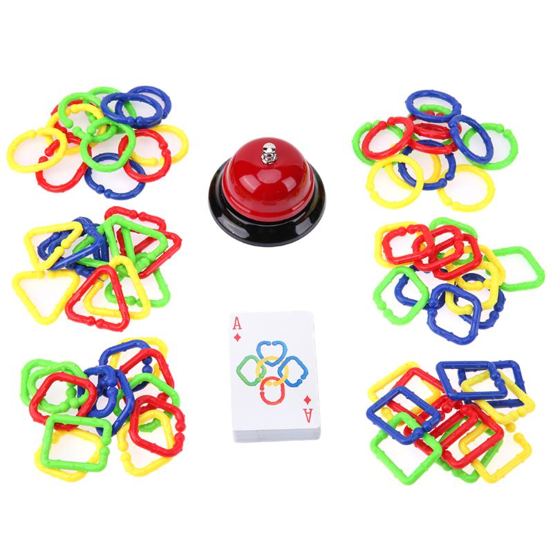 Colorful Plastic Ring Buckle Toy Assembling Kids Puzzles Toy with Card Bell Hand Brain Teaser Toy Parent-Child Interactive Game