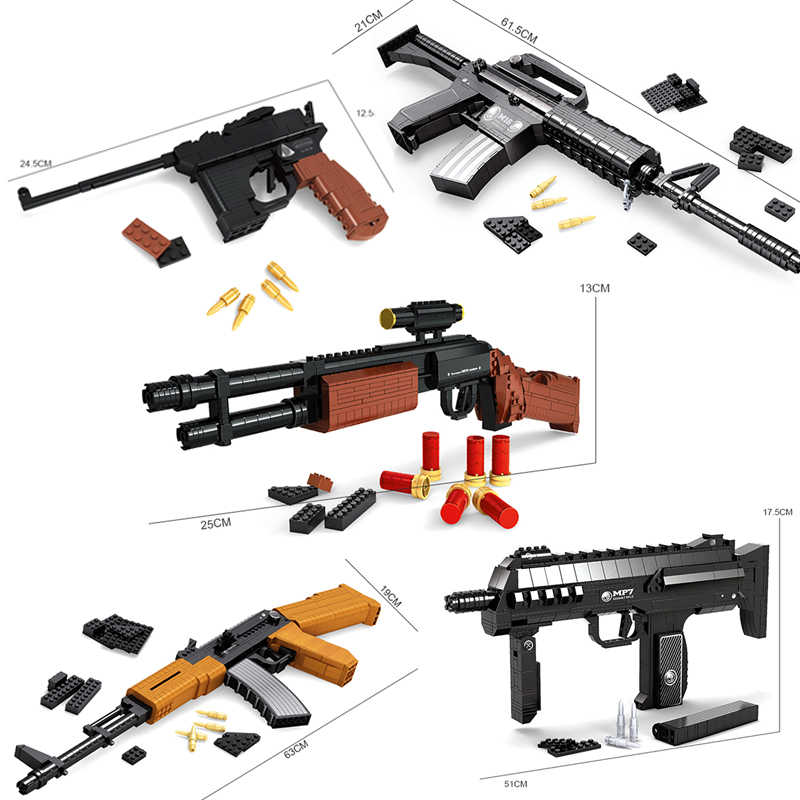 SWAT AK47 Sniper Rifle Pistol Desert Eagle sets building blocks children boys assemble toys compatible legoed guns packs weapons