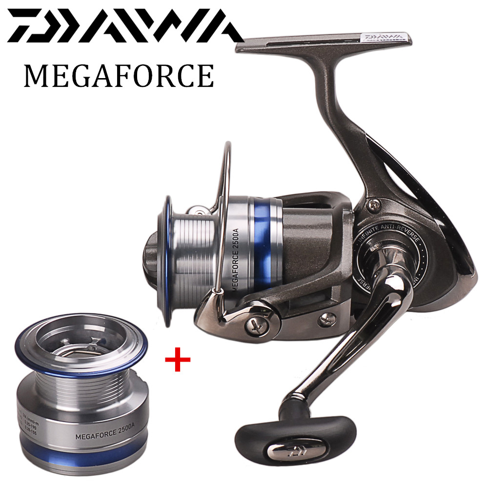 Original DAIWA MEGAFORCE Spinning Angeln Reel 2000/2500/3000/4000A Zwei Metall Spool 5BB/5,3: 1 Pesca Moulinet Peche Spinning Reel