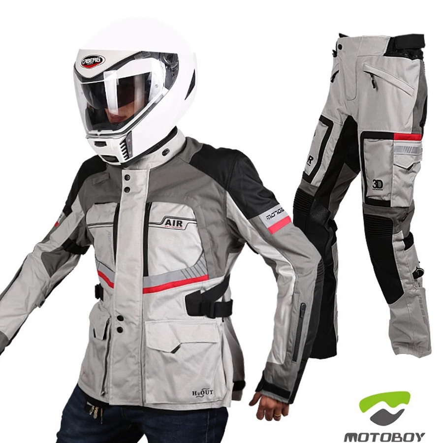 Black Beige Motorcycle Summer Cordura Mesh Breathable CE Removable Armour Jacket