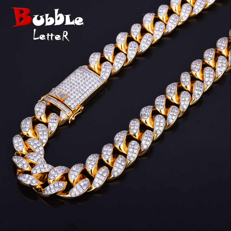 "Finish Men's 20mm Heavy Iced Zircon Miami Cuban Link Necklace Choker Bling Bling Hip hop Jewelry Gold Silver Chain 18"" 20"""