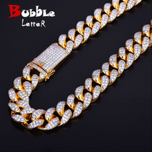 """Finish Mens 20mm Heavy Iced Zircon Miami Cuban Link Necklace Choker Bling Bling Hip hop Jewelry Gold Color Chain 18"""" 20"""""""