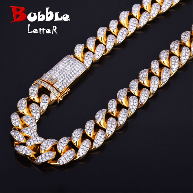 $ US $43.74 Finish Men's 20mm Heavy Iced Zircon Miami Cuban Link Necklace Choker Bling Bling Hip hop Jewelry Gold Color Chain 18
